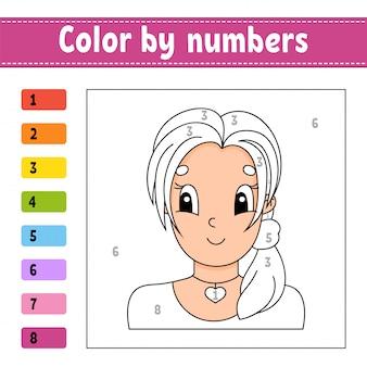 Kolor według liczb. piękna dziewczyna. arkusz aktywności.