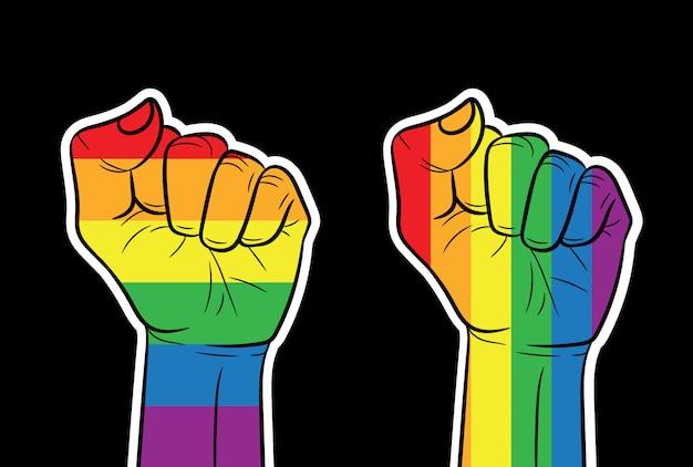 Kolor wektor poziomy baner pięść w kolorach tęczy. znak społeczności lgbt