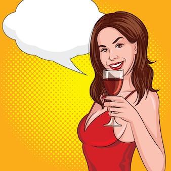 Kolor wektor w komiks stylu pop-art ilustracji. dziewczyna przy lampce czerwonego wina.