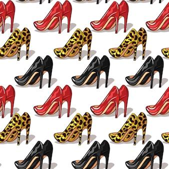 Kolor wektor wzór kobiet buty na obcasie. stylowe, eleganckie buty w różnych kolorach na białym tle