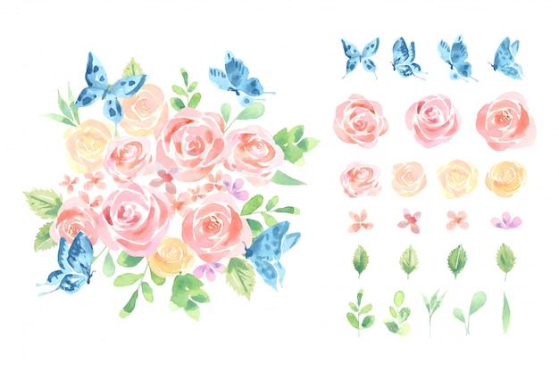 Kolor wody czerwona i pomarańczowa róża z niebieskim motylem bukiet botaniczny luźny styl ułożyć na białym tle, białe tło