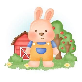 Kolor wody ręcznie rysowane kreskówka królik ładny zwierząt gospodarskich.