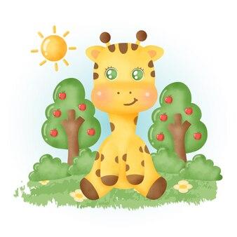 Kolor wody śliczna żyrafa w lesie.