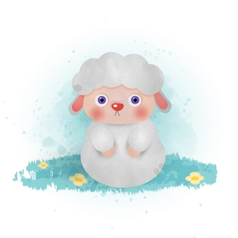 Kolor wody wyciągnąć rękę cute cartoon owiec.