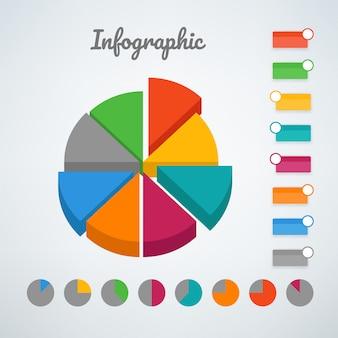 Kolor wykresu kołowego infographic wektor szablon. szablon wektor do prezentacji