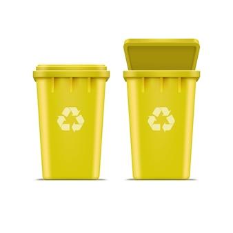 Kolor żółty przetwarza kosz na śmieci i śmieci odizolowywających na białym tle