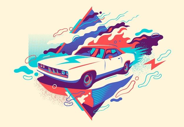 Kolorowa abstrakcja z retro samochodem.