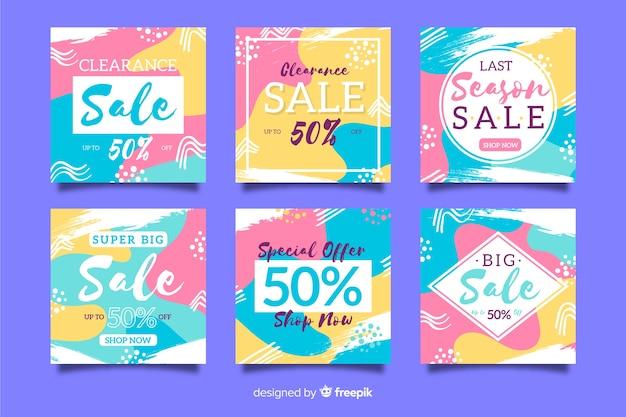 Kolorowa abstrakcjonistyczna sprzedaży instagram poczta kolekcja