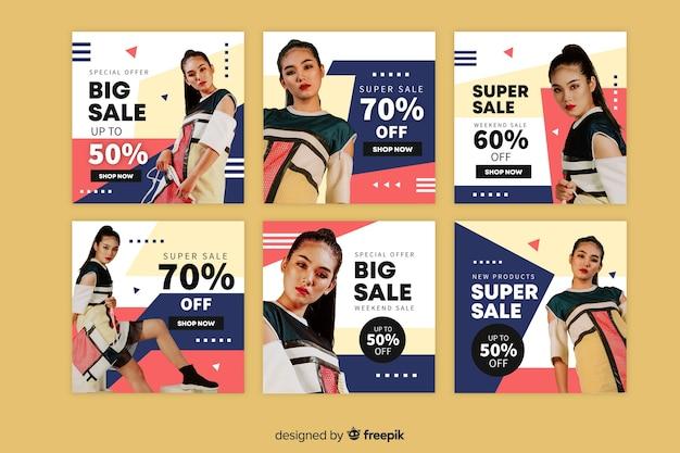 Kolorowa abstrakcjonistyczna sprzedaży instagram poczta ustawiająca z fotografią