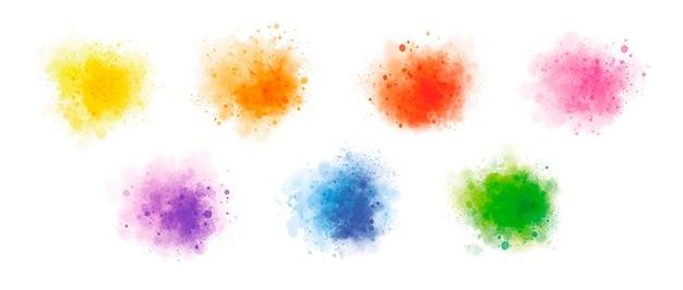 Kolorowa akwarela na białym tle