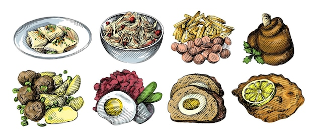 Kolorowa akwarela ręcznie rysowane ilustracja zestaw kuchni niemieckiej.