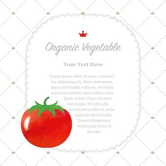Kolorowa akwarela tekstura natura organiczny pomidor ramki notatek warzywnych