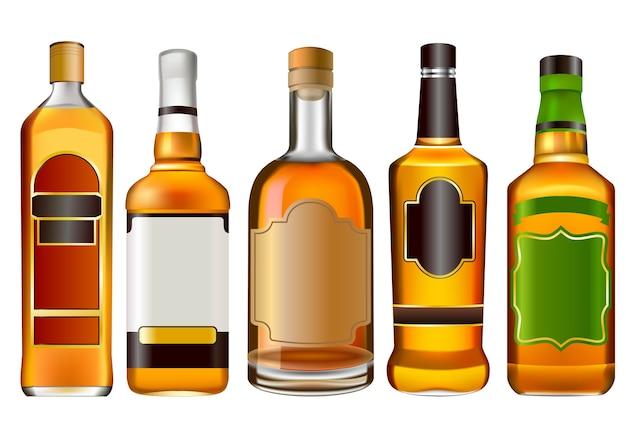 Kolorowa alkohol butelek kolekcja odizolowywająca na bielu