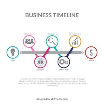 Kolorowa biznesowa linia czasu z płaskim projektem