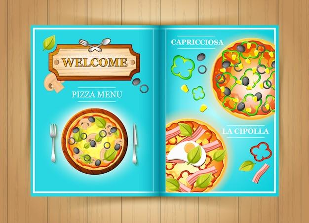 Kolorowa broszura menu pizzy z warzywami, oliwkami, mięsem kukurydzianym, papryką i pomidorami ilustracji