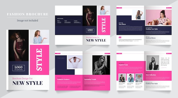 Kolorowa broszura modowa wygląda jak książka w stylu wielostronicowym, czysty i nowoczesny szablon układu