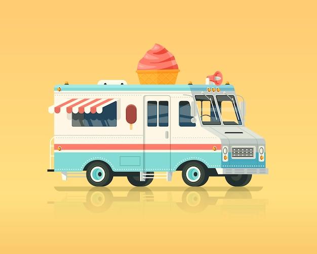 Kolorowa ciężarówka z lodami. ilustracja koncepcja vintage kolory.