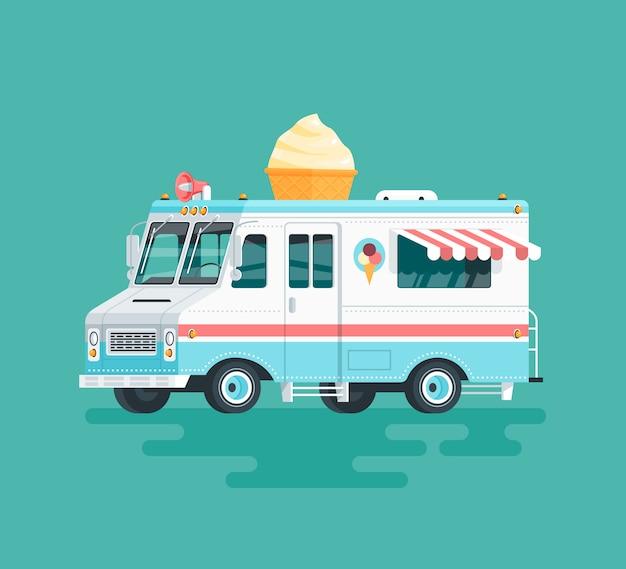 Kolorowa ciężarówka z lodami. ilustracja kreskówka.