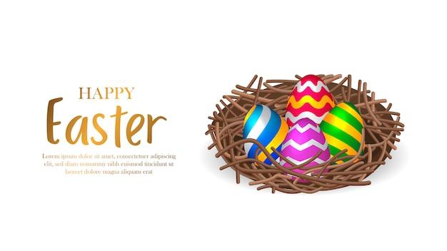 Kolorowa dekoracja grupy 3d jajko na wielkanoc