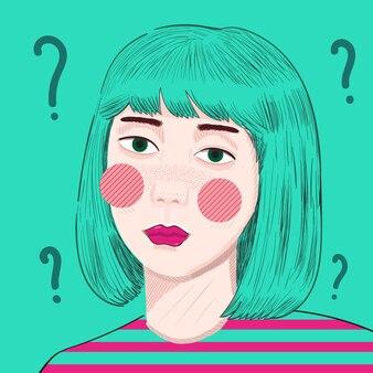 Kolorowa dziewczyna illustraton z miętowymi włosami na miętowym tle ze znakami zapytania