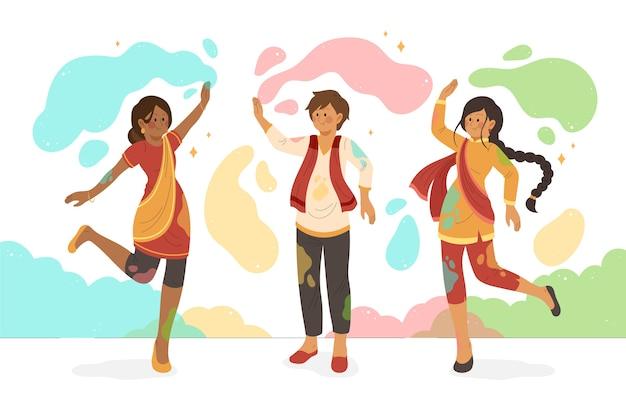 Kolorowa farba i ludzie świętują wydarzenie holi