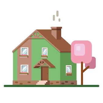 Kolorowa fasada domu. ilustracja. ikona domu. fasada domu z drzewami na białym tle.