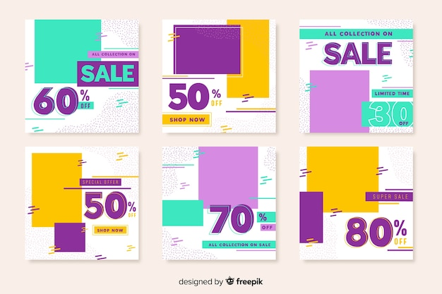 Kolorowa geometryczna sprzedaż instagram post kolekcja