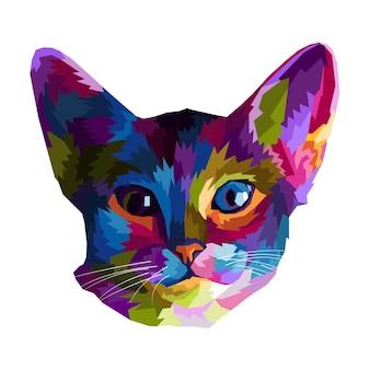 Kolorowa głowa kota pop-art portret na białym tle dekoracja