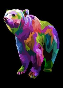 Kolorowa Głowa Niedźwiedzia W Stylu Pop-art. Premium Wektorów