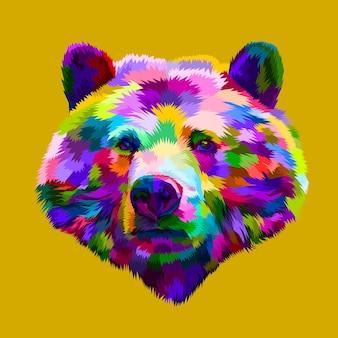 Kolorowa głowa niedźwiedzia w stylu pop-art