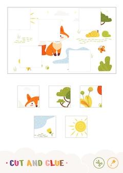 Kolorowa gra dla dzieci w wycinanie i klejenie z lisem siedzącym w pobliżu leśnego strumienia dzikie zwierzęta przedszkole d