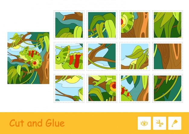 Kolorowa gra dla dzieci z wizerunkiem ślicznego kameleona siedzącego na drzewie w lesie deszczowym. dzikie zwierzęta. wycinaj i przyklejaj grę dla dzieci oraz inną aktywność rozwojową.