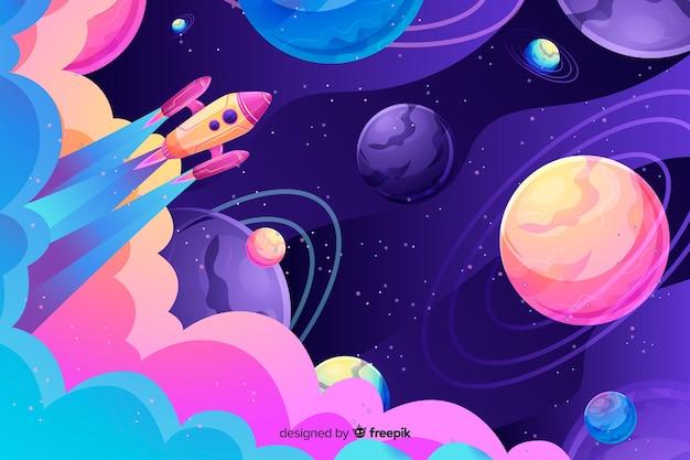 Kolorowa gradient przestrzeń z rakietowym tłem