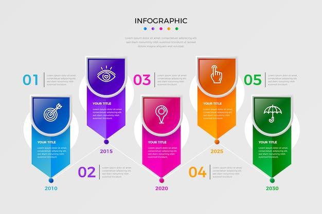 Kolorowa gradientowa infografika osi czasu