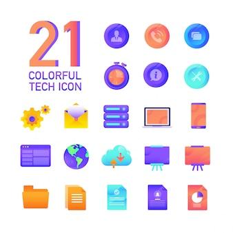 Kolorowa gradientowa tech sprzedaży wykresu statystyki wektorowa projekt ikona