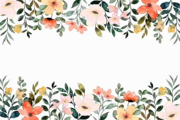 Kolorowa granica kwiatów z akwarelą