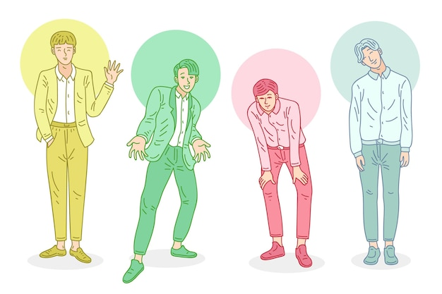 Kolorowa grupa chłopców k-popowych