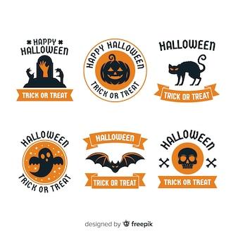 Kolorowa halloween odznaka kolekcja z płaskim projektem