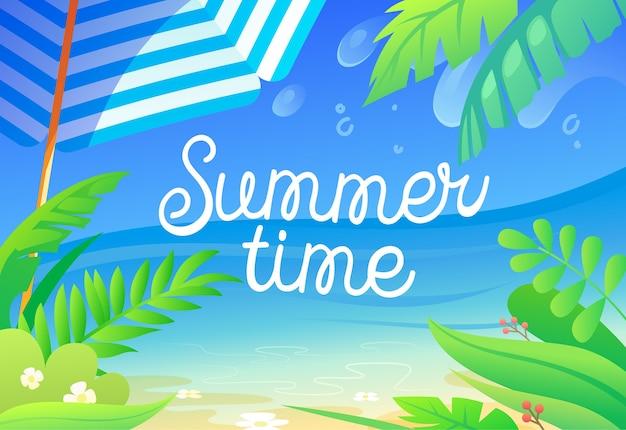 Kolorowa ilustracja czasu letniego z roślinami tropikalnymi, liśćmi palm, piaszczystą plażą, parasolem słonecznym i widokiem na ocean