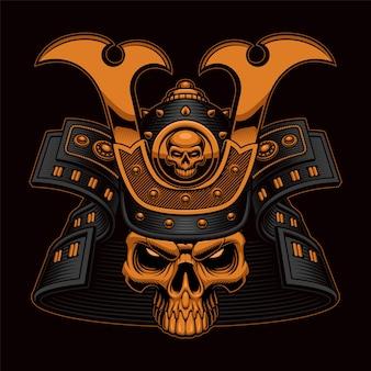Kolorowa ilustracja czaszki samuraja na czarno