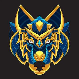 Kolorowa ilustracja głowy wilka