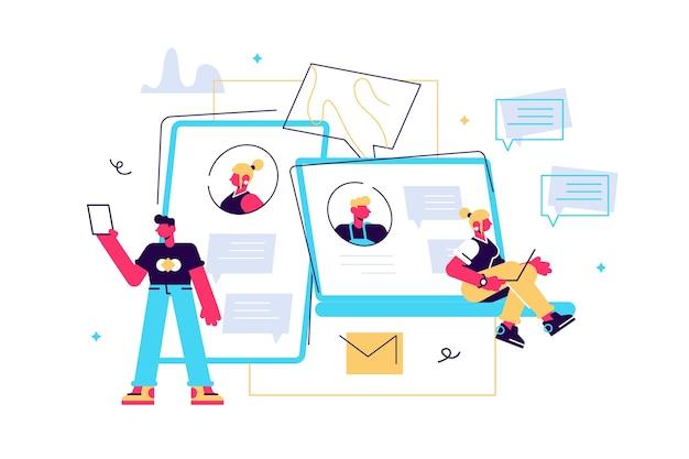 Kolorowa ilustracja komunikacji przez internet i media społecznościowe