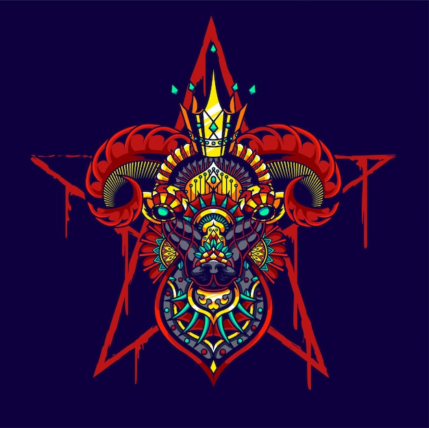 Kolorowa ilustracja koza, mandala zentangle i projekt koszulki