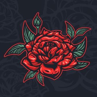 Kolorowa ilustracja kwiatu róży. idealny jako naklejka, element projektu, nadruk na tkaninie.