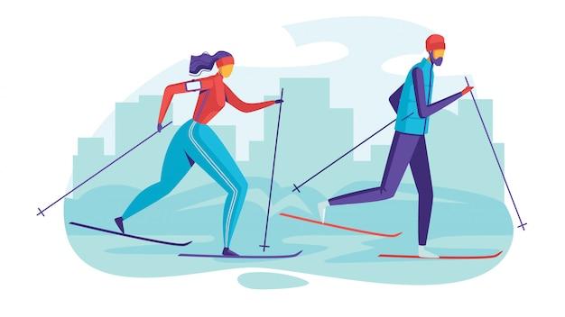 Kolorowa ilustracja ludzie w parku jeżdżą na nartach. płaski plakat sezonowych rodzinnych wakacji.