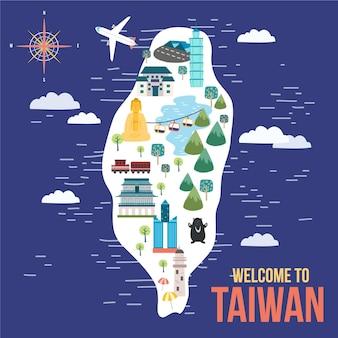 Kolorowa ilustracja mapy tajwanu z zabytkami