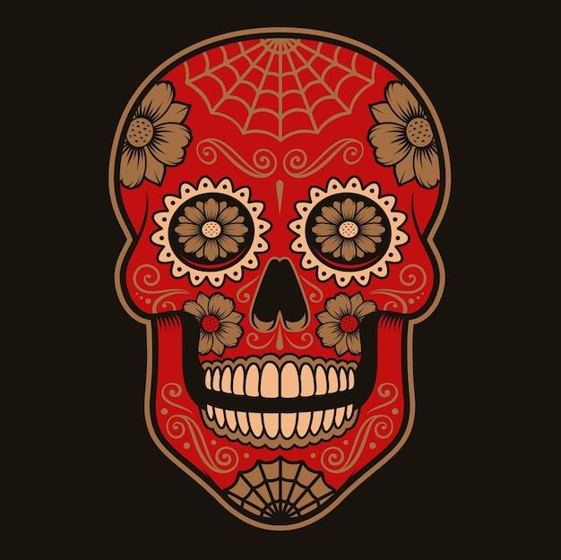 Kolorowa ilustracja meksykańskiej czaszki cukru na ciemnym tle.kolory są w grupie.