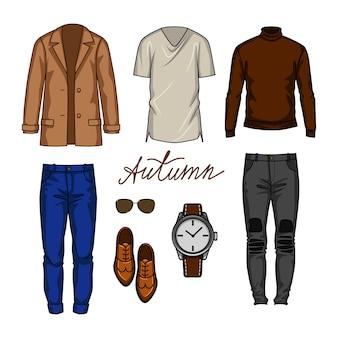 Kolorowa ilustracja miejskich strojów dla męskiej garderoby. męska nowoczesna szafa na sezon jesienny.