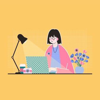 Kolorowa ilustracja młoda kobieta która pracuje w domu