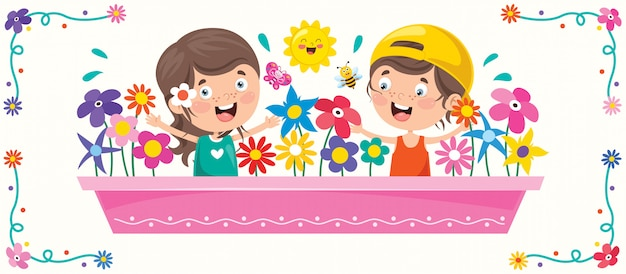 Kolorowa ilustracja na szczęśliwy dzień dziecka